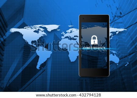 Key icon and cyber security text on modern smart phone screen over map and city tower background, Cyber security concept, Elements of this image furnished by NASA - stock photo