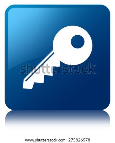 Key icon blue square button - stock photo