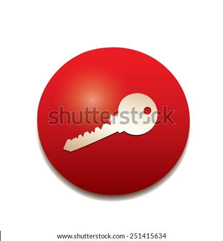 Key icon button. - stock photo