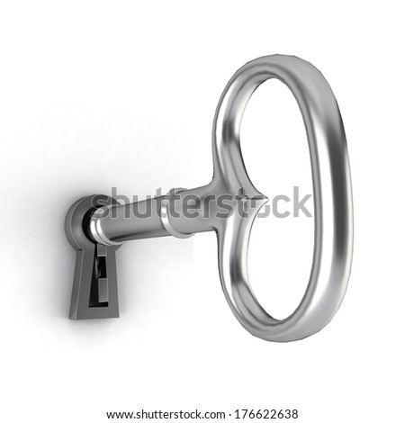 Key in a keyhole. 3d illustration on white background - stock photo