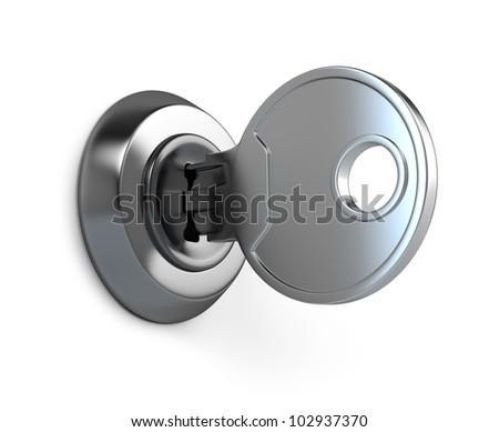 Key in keyhole - stock photo