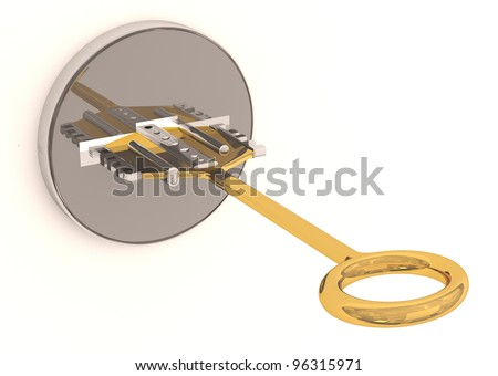 Key in keyhole. 3D model - stock photo