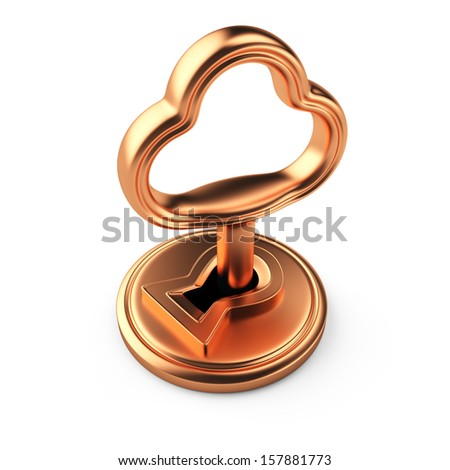 key in keyhole isolated on white background. 3d rendered image