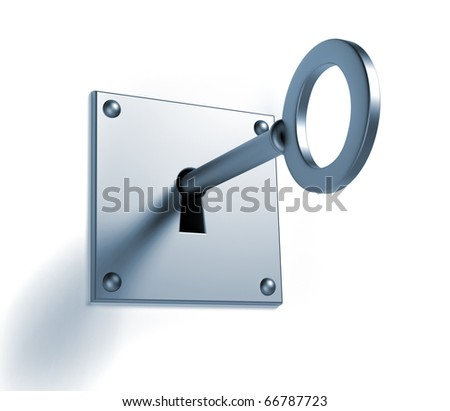 Key in keyhole - this is a 3d render illustration - stock photo
