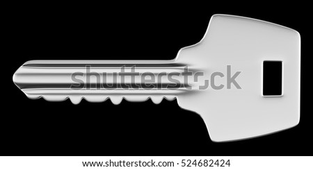 key isolated on black background. 3d illustration