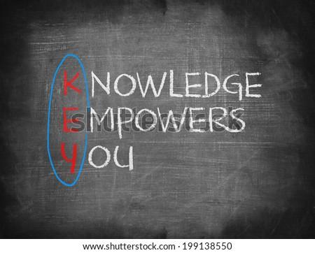 Key knowledge empowers you chalk blackboard  - stock photo