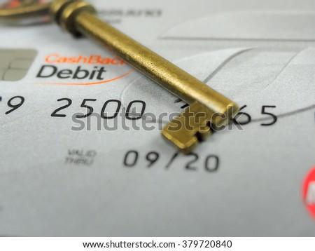 key lock credit card data encryption security - stock photo