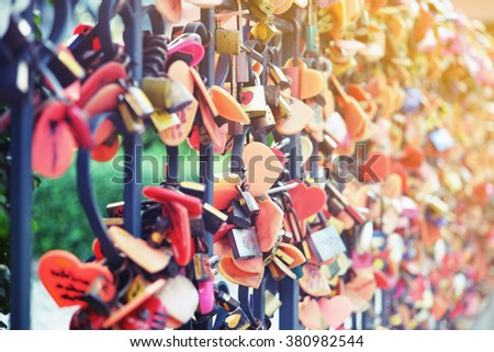 key lock for forever love concept background - stock photo