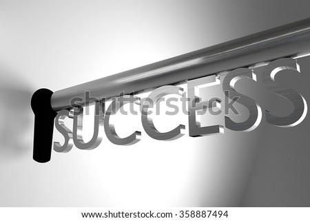key of success open lock keyhole 3d illustration - stock photo