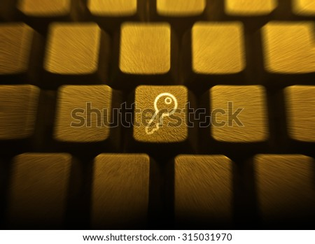 Key on a golden keyboard with zoom effect. Key to Success. Success concept.