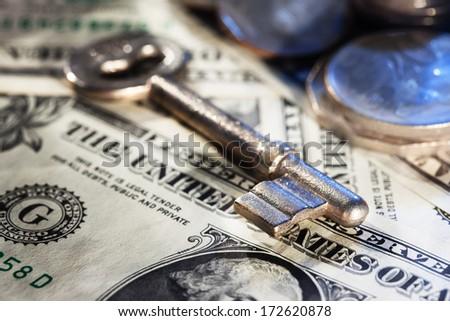 key on money close up - stock photo