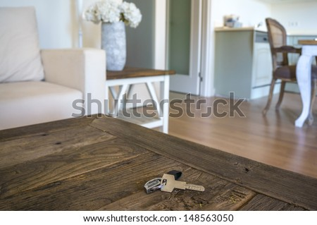 key on table in a living room - stock photo