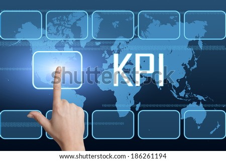 Key Performance Indicator concept with interface and world map on blue background - stock photo