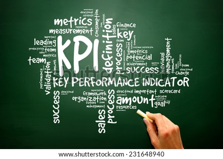 Key Performance Indicators word collage, KPI Business Concept, presentation background - stock photo