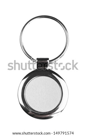 Key ring with space for text on white background - stock photo