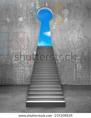 Key shape door on business doodles wall with concrete stairs and blue sky view - stock photo
