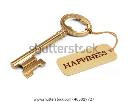 Key to Happiness concept - Golden key with happiness tag isolated on white. 3d illustration
