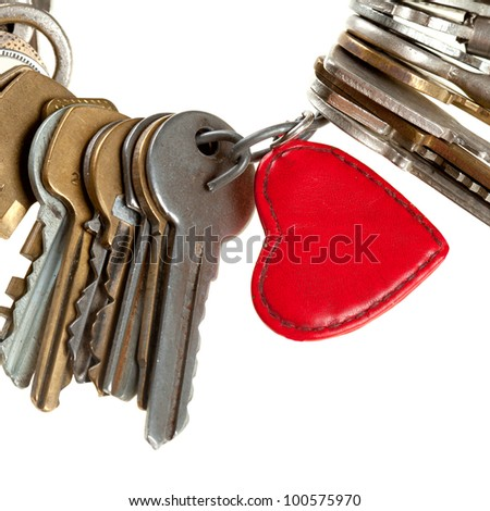 key to heart - bunch of keys with heart, image isolated on white background