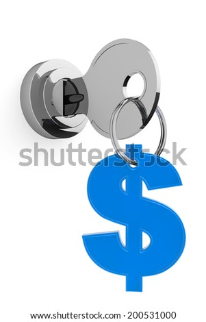 Key to Money Concept. Key and dollar sign on a white background