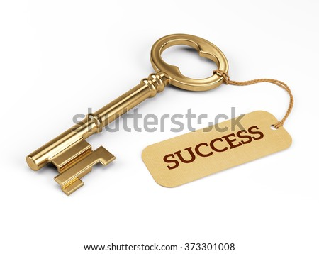 Key to Success isolated on white - stock photo
