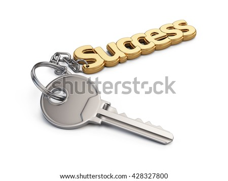 Key to Success isolated on white background. 3d render - stock photo