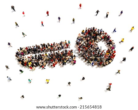 Key to success. Large group of people in the shape of a key, symbolizing success of people in business or other ventures on a white background. - stock photo