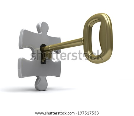 Key unlocks single jigsaw piece