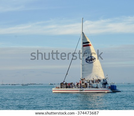 KEY WEST, FL.-FEBRUARY 8:  A Fury Charters catamaran takes tourists on a Sunset Cruise on February 8, 2016, in Key West, Florida.