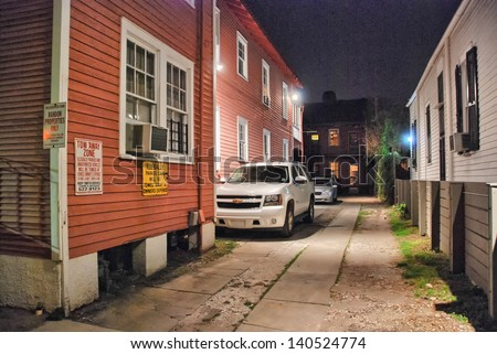 KEY WEST, FL - JAN 10: Typical street at night, January 10, 2009 in Key West, FL. Key West is a seaport destination for many passenger cruise ships. - stock photo