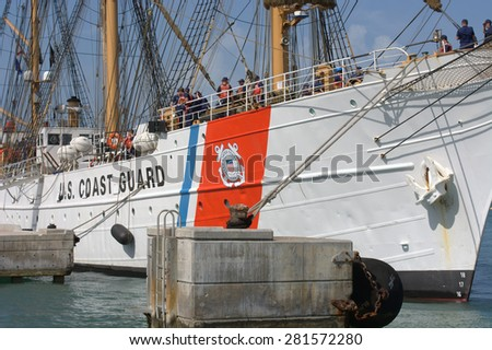 KEY WEST, FL-MAY 25: America's Tall Ship, the United States Coast Guard Barque EAGLE, WIX 327, visits Key West on May 25, 2015, welcoming visitors over the Memorial Day Weekend.  - stock photo
