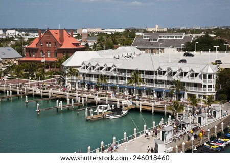 KEY WEST, FLORIDA-MARCH 23, 2009:  Over 660,000 cruise ship visitors enter Key West, Florida from this port in southern Florida. - stock photo