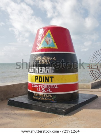 Key West Florida marker to the Southernmost Point in the Continental USA - stock photo
