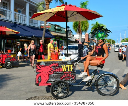 KEY WEST, FLORIDA - OCTOBER 31: Locals and visitors alike enjoy Fantasy Fest on October 31, 2015 in Key West, Fl. This annual event features a two day street fair, and a parade on Saturday night. - stock photo