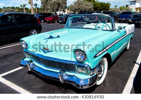 Key West, Florida, USA-February 08, 2016: Chevrolet bel air convertible retro blue car with no people on sunny day outdoor in key West, Florida, USA