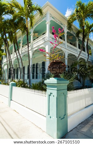 Key West, Florida USA - March 3, 2015: A beautifully restored wood frame home in the historic district of Key West. - stock photo