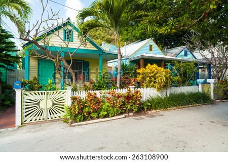 Key West, Florida USA - March 2, 2015: Beautifully restored vintage homes in the residential Historic District of Key West. - stock photo