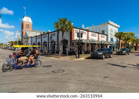 Key West, Florida USA - March 3, 2015: The historic and popular Sloppy Joe's Bar on Duval Street in downtown Key West.