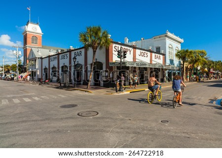 Key West, Florida USA - March 3, 2015: The historic and popular Sloppy Joe's Bar on Duval Street in downtown Key West. - stock photo