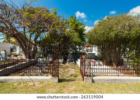 Key West, Florida USA - March 5, 2015: The Key West Cemetery located in the Historic District was founded in 1847. - stock photo