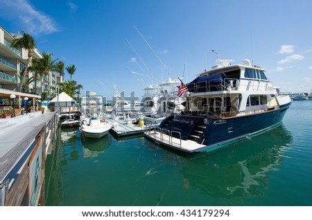 KEY WEST, FLORIDA, USA - MAY 02, 2016: Boats in the harbor of Key West in Florida - stock photo