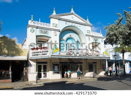KEY WEST, FLORIDA, USA - MAY 01, 2016: The old Strand theatre in Duval street in the center of Key West - stock photo