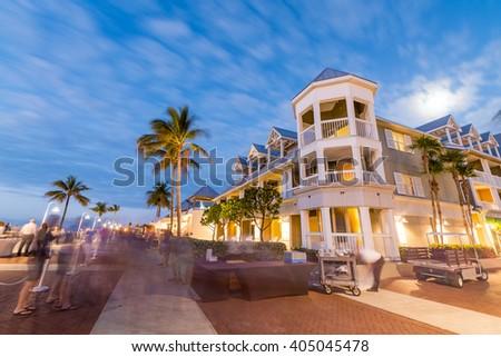 Key West, Mallory Square at night. - stock photo
