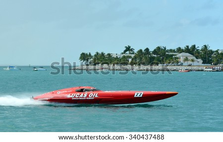 KEY WEST-NOVEMBER 13: Super Boats International World Offshore Powerboat Championships, November 13, 2015 in Key West, Florida. - stock photo