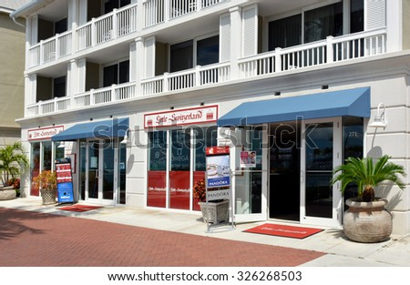KEY WEST-OCTOBER 11:  Little Switzerland Jewelers is pictured in Key West, Florida, on October 11, 2015.  Stores are located across the Caribbean, and specialize in fine jewelry and watches.