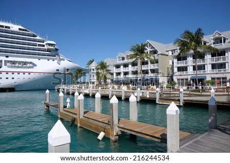 KEY WEST, USA - DEC 30: Cruise Ship Carnival Conquest in Key West. December 30, 2009 in Key West, Florida, USA  - stock photo