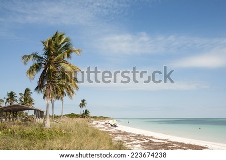 KEY WEST, USA - NOV 16: People relaxing on the Bahia Honda beach in Florida Keys. November 16, 2009 in Key West, Florida, USA