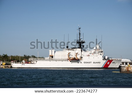 KEY WEST, USA - NOV 18: US Coast Guard ship in Key West. November 18, 2009 in Key West, Florida, USA