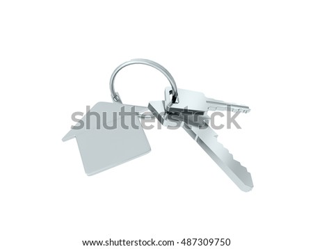 Key with blank golden label. 3D rendering