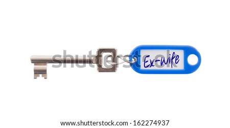 Key with blank label isolated on white background, ex-wife