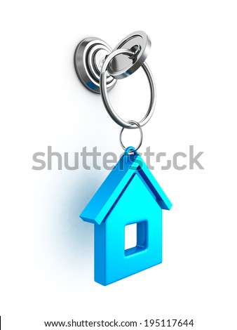 key with blue house trinket in keyhole. real estate concept 3d render illustration - stock photo